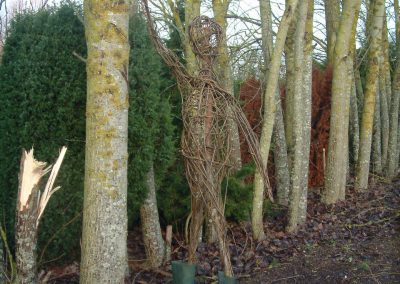 Woven willow figure at Willows Nursery