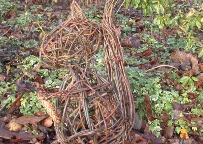 Woven willow squirrel at Willows Nursery