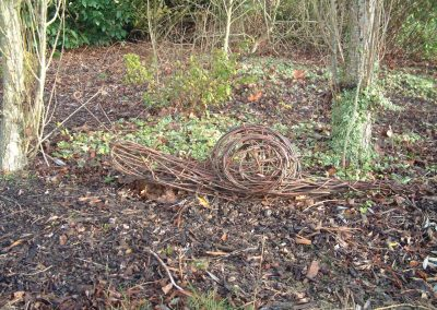 Woven willow snail at Willows Nursery