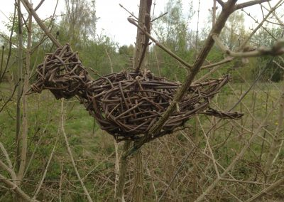 Woven willow bird at Willows Nursery