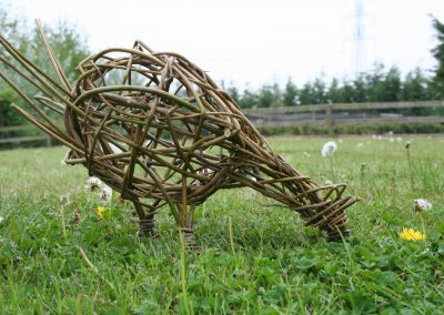 Woven willow chicken at Willows Nursery