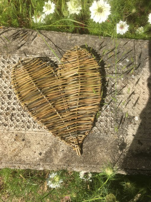 Woven willow heart at Willows Nursery
